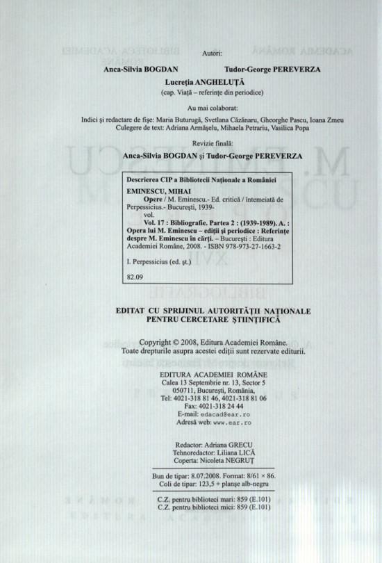 Bibliografia M  Eminescu